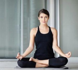 women yoga home