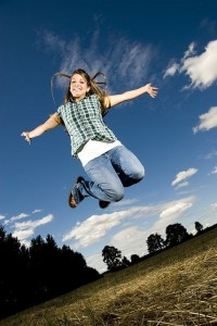 girl happy jump
