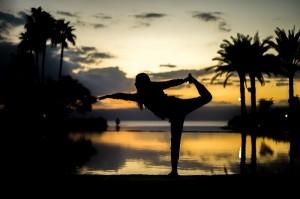 stretch women sunset