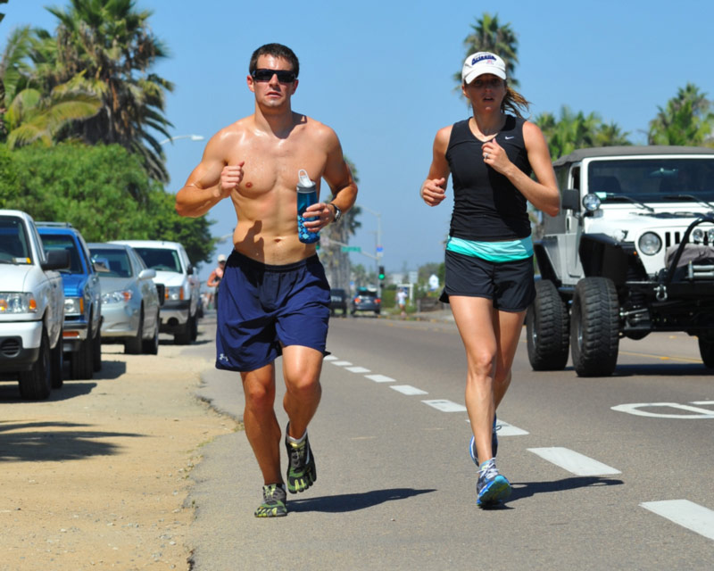 couple is exercising - running