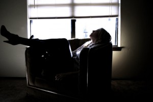 stress - women - sitting on the sofa