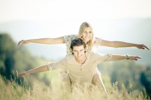 happiness couple in nature
