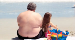 obesity men on the beach