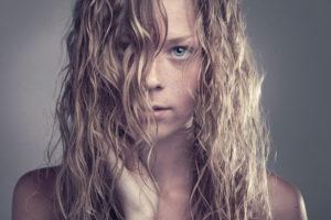 combing hair women
