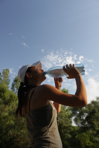 workout  women drink water