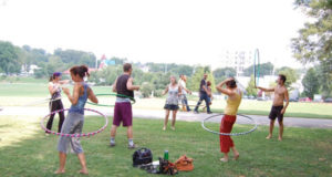 exercising and burning calories in the park
